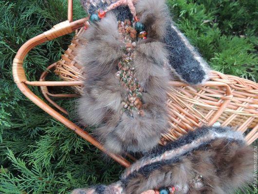 Варежки, митенки, перчатки ручной работы. Ярмарка Мастеров - ручная работа. Купить Теплые вязаные варежки из собачьей шерсти. Handmade.