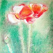 Открытки handmade. Livemaster - original item Postcard: Solar poppies. Handmade.