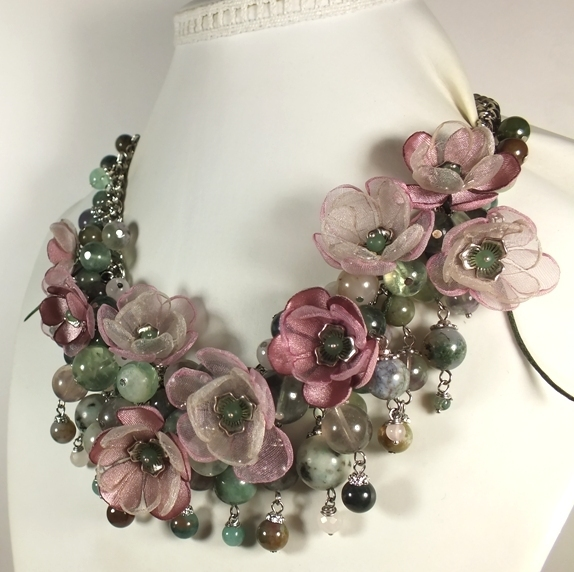 Sakura in the mirror of the Lake. Necklace, earrings, detachable fabric flowers, Jewelry Sets, St. Petersburg,  Фото №1