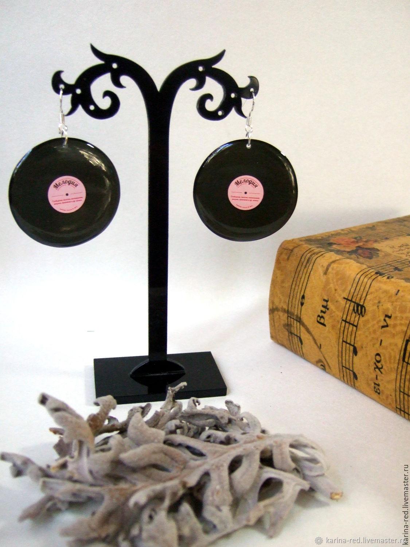 Transparent Earrings Vinyl Records Black Rose-Melody Music, Earrings, Taganrog,  Фото №1