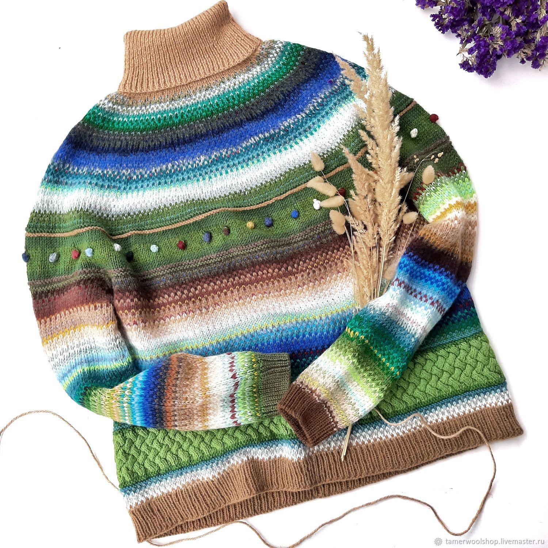 Вязаный полосатый свитер с высоким воротом, женский исландский свитер, Джемперы, Москва,  Фото №1