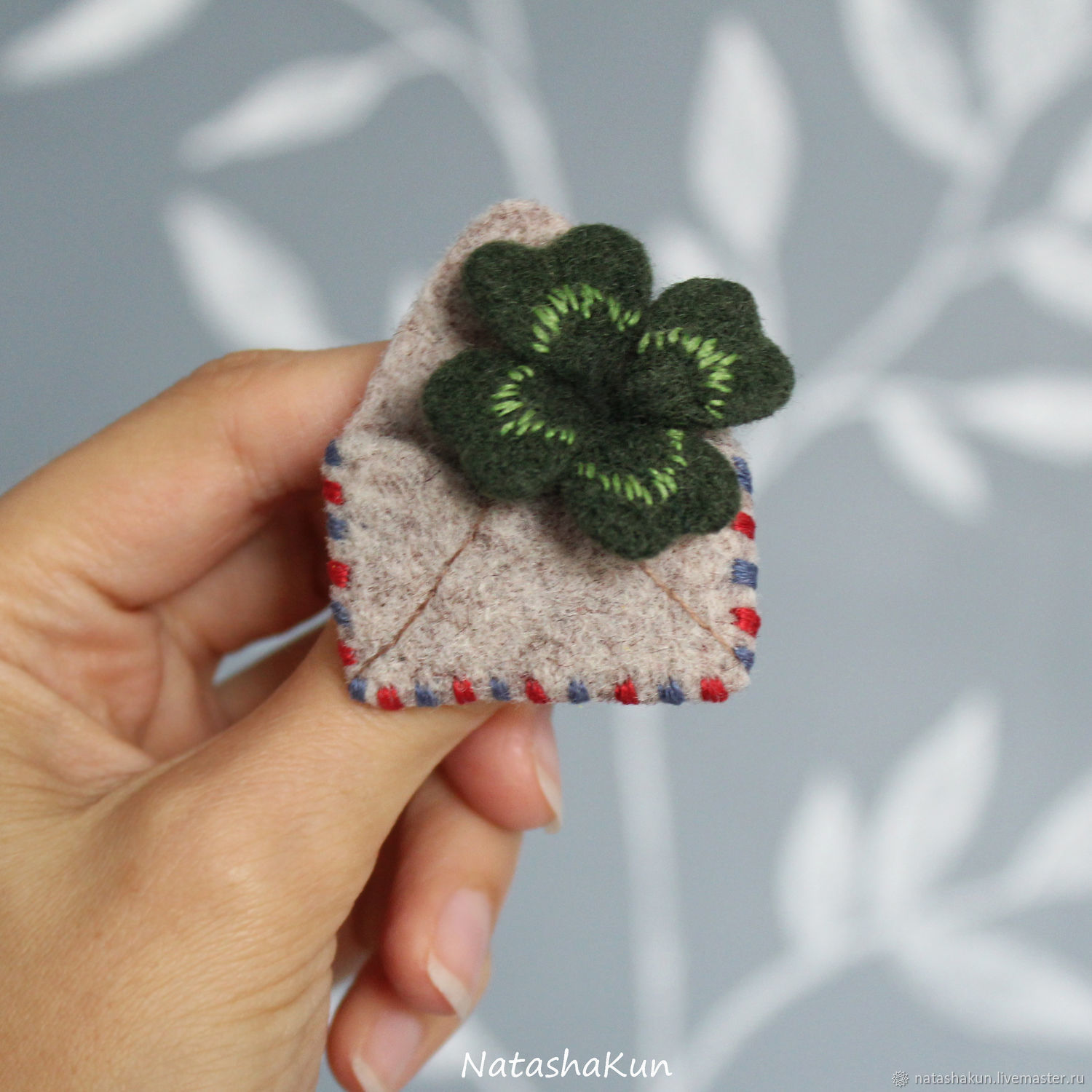 Brooch 'Clover for luck', an original gift, Brooches, Ust-Ilimsk,  Фото №1