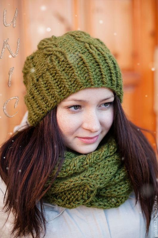 Комплект шапка шарф, комплект вязаный шапка снуд, комплект вязаный, хакки, оливковый, милитари, шапка вязаная, шарф вязаный, модный комплект, купить шапку, купить шарф, купить подарок