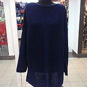 Одежда ручной работы. Ярмарка Мастеров - ручная работа туника пуловер оверсайз тёмно синего цвета. Handmade.