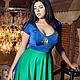 """Платья ручной работы. Ярмарка Мастеров - ручная работа. Купить Платье из трикотажа """"Птица счастья"""". Handmade. Синий, трикотаж, зеленый"""