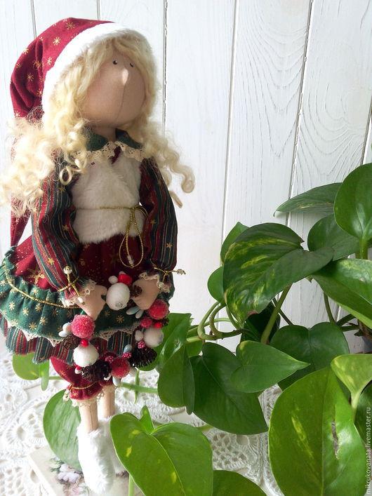 Куклы тыквоголовки ручной работы. Ярмарка Мастеров - ручная работа. Купить Новогодняя гномочка...... Handmade. Бордовый, ткань хлопок