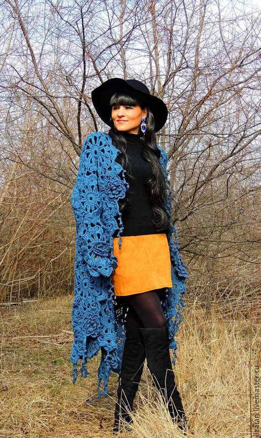 Верхняя одежда ручной работы. Ярмарка Мастеров - ручная работа. Купить Пальто вязаное цвета деним (№67). Handmade.