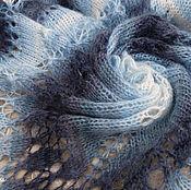 """Аксессуары ручной работы. Ярмарка Мастеров - ручная работа Шаль-фишю """"Зимний вечер"""" вязаная ажурная, мохер, шерсть, синий, джинс. Handmade."""