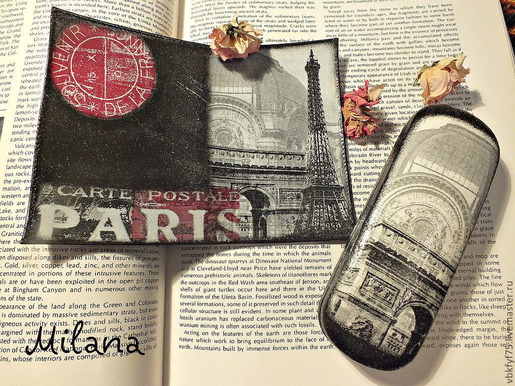 """""""Мечтательный Париж"""" Очешник. Обложка на паспорт кожа. Декупаж"""