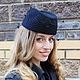 Шляпы ручной работы. Ярмарка Мастеров - ручная работа. Купить Шляпка - таблетка- пилотка - вуалетка «Хельга», велюр. Handmade. Черный
