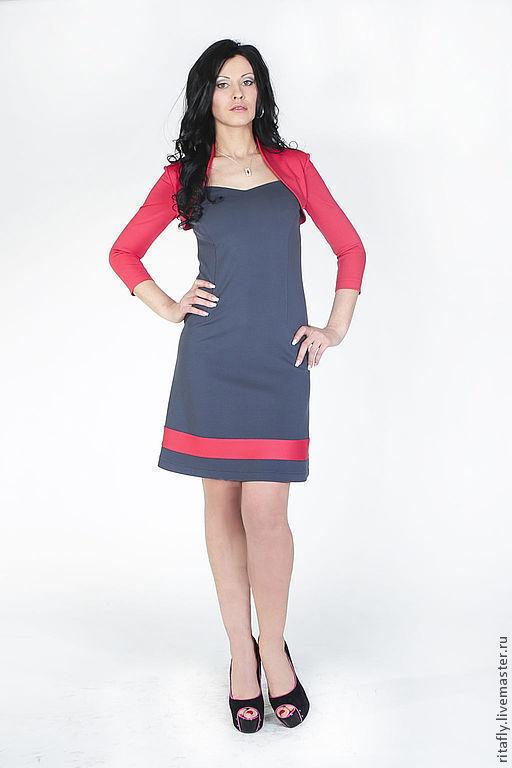 Цвет: серый+коралловый платье бежевый платье офисное платье для девушки платье повседневное платье с рукавами платье на каждый день платье до колен платье на осень платье женское платье миди