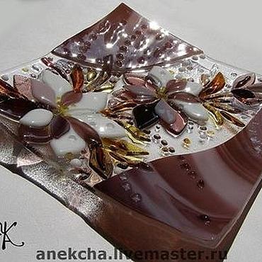 """Посуда ручной работы. Ярмарка Мастеров - ручная работа Фьюзинг Тарелка """"Песня цветов"""". Handmade."""