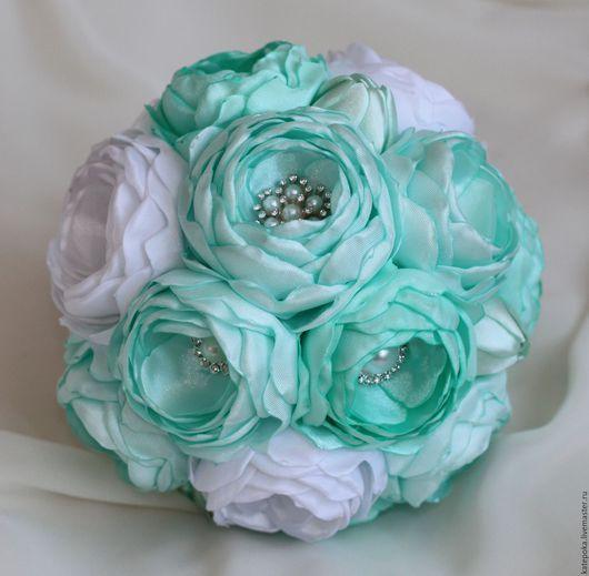 Свадебные цветы ручной работы. Ярмарка Мастеров - ручная работа. Купить Брошь-букет, свадебный букет невесты. Handmade. Мятный