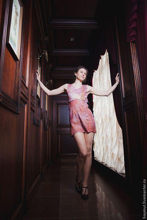 """Платья ручной работы. Ярмарка Мастеров - ручная работа. Купить Валяное мини платье туника """"Пыльная орхидея"""". Handmade. бохо"""