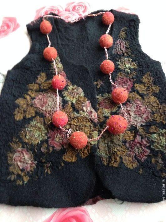 Одежда для девочек, ручной работы. Ярмарка Мастеров - ручная работа. Купить Детский валяный жилетик Скоро осень. Handmade. Цветочный