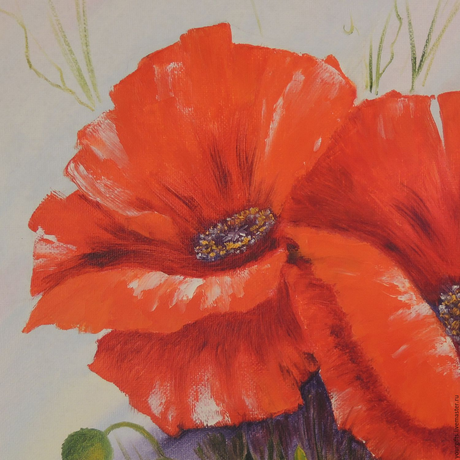 Bright poppies oil painting flowers shop online on for Bright flower painting
