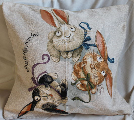 Текстиль, ковры ручной работы. Ярмарка Мастеров - ручная работа. Купить ЗАЙЧАТА: гобеленовый чехол, 45-45 см. Handmade.