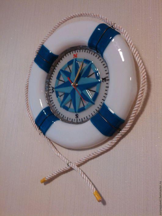 """Часы для дома ручной работы. Ярмарка Мастеров - ручная работа. Купить часы из стекла """"Морские"""". Handmade. Синий, часы настенные"""
