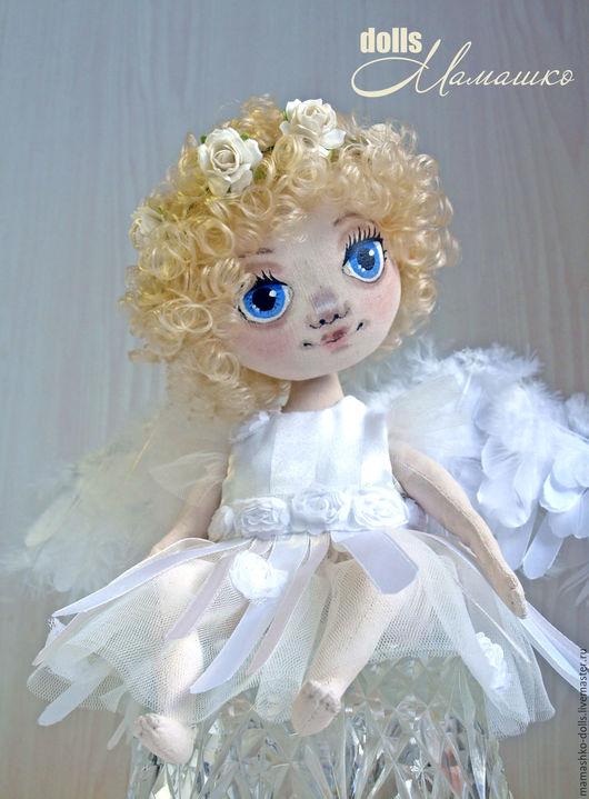Коллекционные куклы ручной работы. Ярмарка Мастеров - ручная работа. Купить Текстильная интерьерная кукла из бязи Задумчивый Ангел. Handmade.