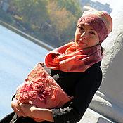 """Аксессуары ручной работы. Ярмарка Мастеров - ручная работа Комплект валяный """"девушка-персик"""". Handmade."""