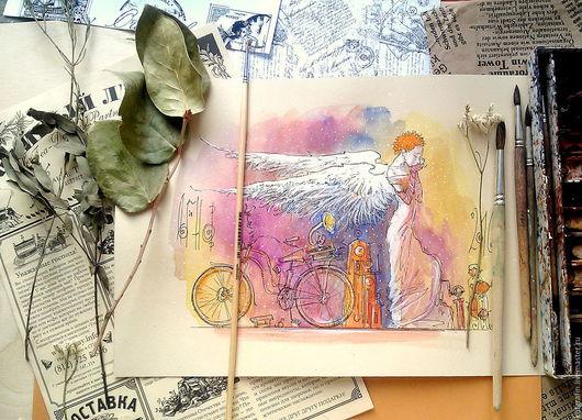"""Символизм ручной работы. Ярмарка Мастеров - ручная работа. Купить """"Молитва"""". Handmade. Ангел, акварель, рыжий, картина в детскую, линер"""