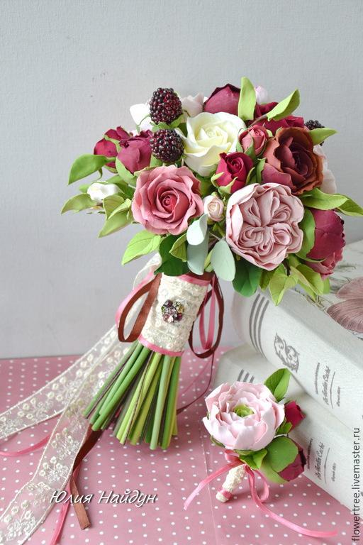 Букеты ручной работы. Ярмарка Мастеров - ручная работа. Купить Букет невесты из полимерной глины Marsala-2. Handmade. Белый