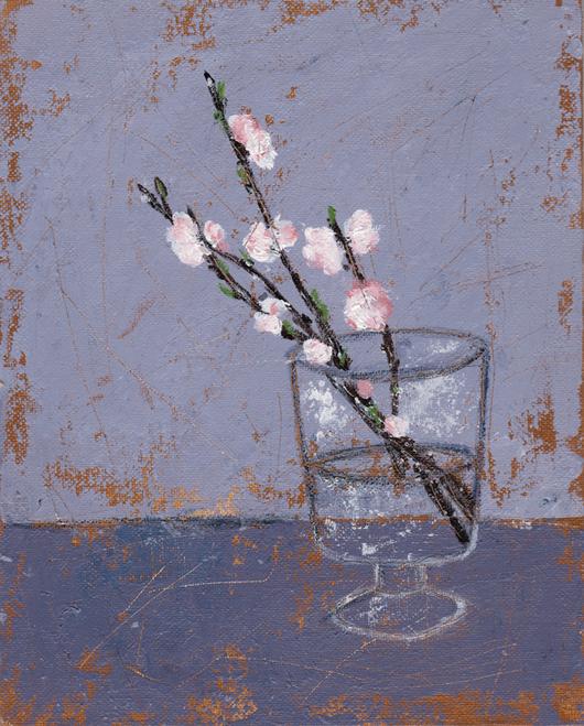 Картины цветов ручной работы. Ярмарка Мастеров - ручная работа. Купить Веточки в цвету и в стакане. Handmade. Сиреневый, розовый, веточка