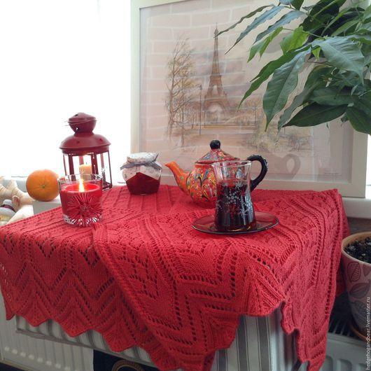 """Текстиль, ковры ручной работы. Ярмарка Мастеров - ручная работа. Купить Салфетка на стол """"Лето красное"""". Handmade. Ярко-красный"""