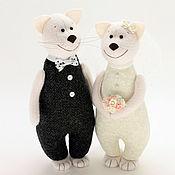 Подарки ручной работы. Ярмарка Мастеров - ручная работа Свадебные коты - символ домашнего очага, подарок на свадьбу. Handmade.