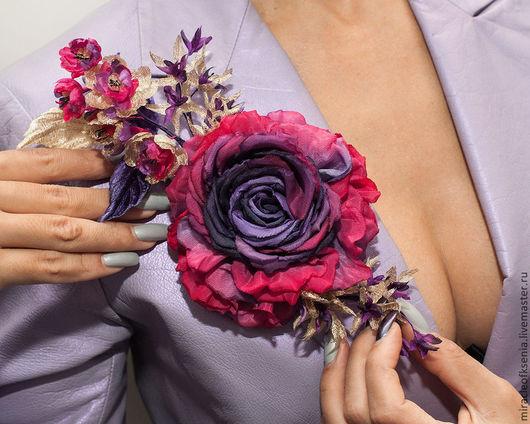 """Броши ручной работы. Ярмарка Мастеров - ручная работа. Купить Украшение """"Восточный колорит"""". Handmade. Цветок из шелка, красота, изящество"""