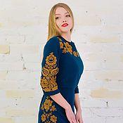 Одежда ручной работы. Ярмарка Мастеров - ручная работа Платье шерстяное синее с вышивкой. Handmade.