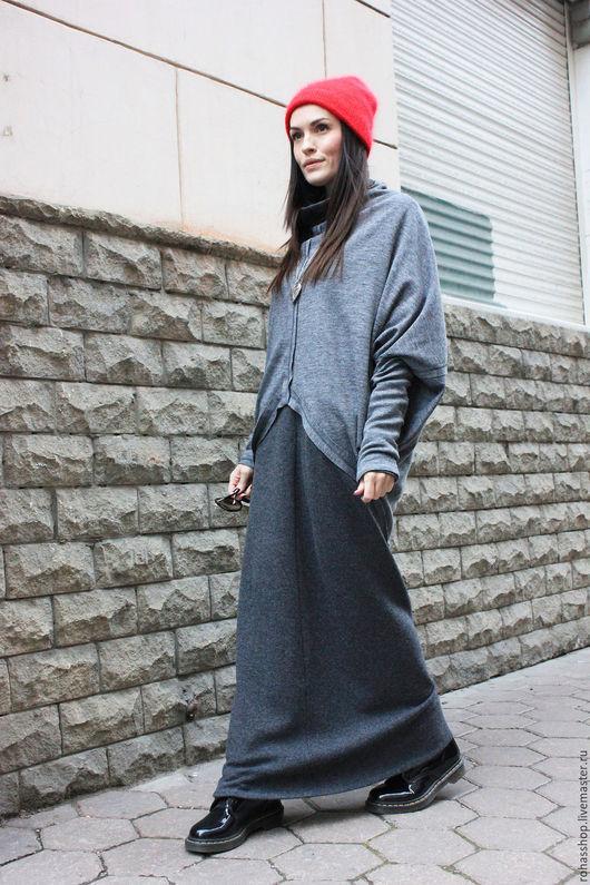 R00044 Туника длинная теплая кофточка серая шерстяная туника теплая одежда на осень стильная туника дизайнерская накидка серые вещи модная одежда уличная мода 2015 гранж бохо