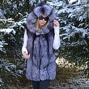 handmade. Livemaster - original item Vest fur black brown(silver) foxes. Hooded.. Handmade.