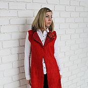 """Одежда ручной работы. Ярмарка Мастеров - ручная работа жилет удлиненный войлочный """"Прекрасный Красный"""". Handmade."""