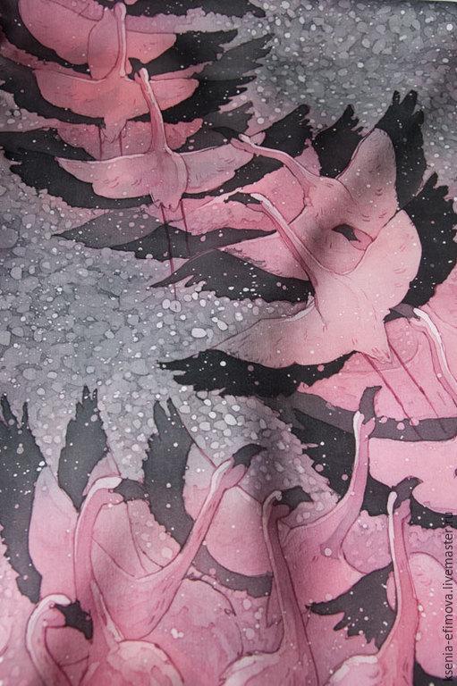 Шарфы и шарфики ручной работы. Ярмарка Мастеров - ручная работа. Купить Шелковый шарф с ручной росписью (батик) - Фламинго. Handmade.