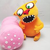 Куклы и игрушки handmade. Livemaster - original item Sausage Stealer, soft toy red cat with sausage Vasya Lozhkina. Handmade.
