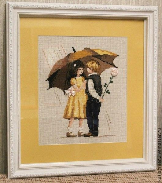 """Люди, ручной работы. Ярмарка Мастеров - ручная работа. Купить """"Первое свидание"""", вышивка крестом. Handmade. Желтый, ручная работа"""