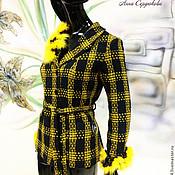 """Одежда ручной работы. Ярмарка Мастеров - ручная работа Куртка ручной работы с натуральным мехом """"Желтый штрих с мехом"""". Handmade."""