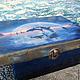 Шкатулочка `Косатки`. Сделала в технике декупаж, сложные фоны, пасты, акрил. размер 24 х 17 х 8,5 см