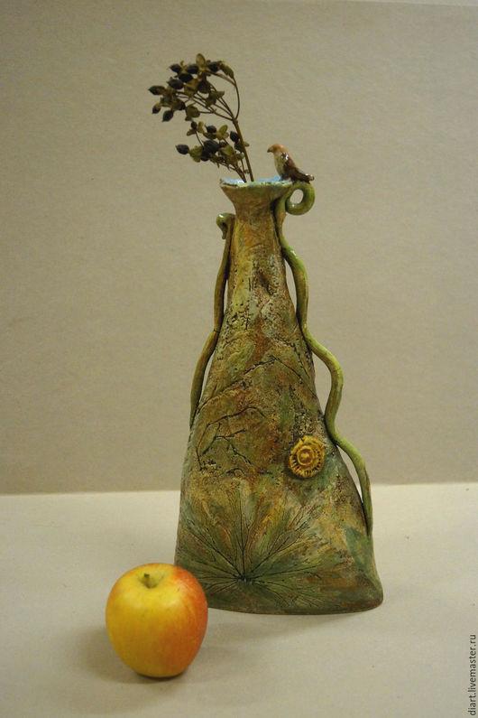"""Вазы ручной работы. Ярмарка Мастеров - ручная работа. Купить ваза для цветов """"Родничок"""". Handmade. Оливковый, ручная работа, подарки"""