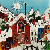 Для дома и интерьера ручной работы. Ярмарка Мастеров - ручная работа Часы Зимний городок. Handmade.