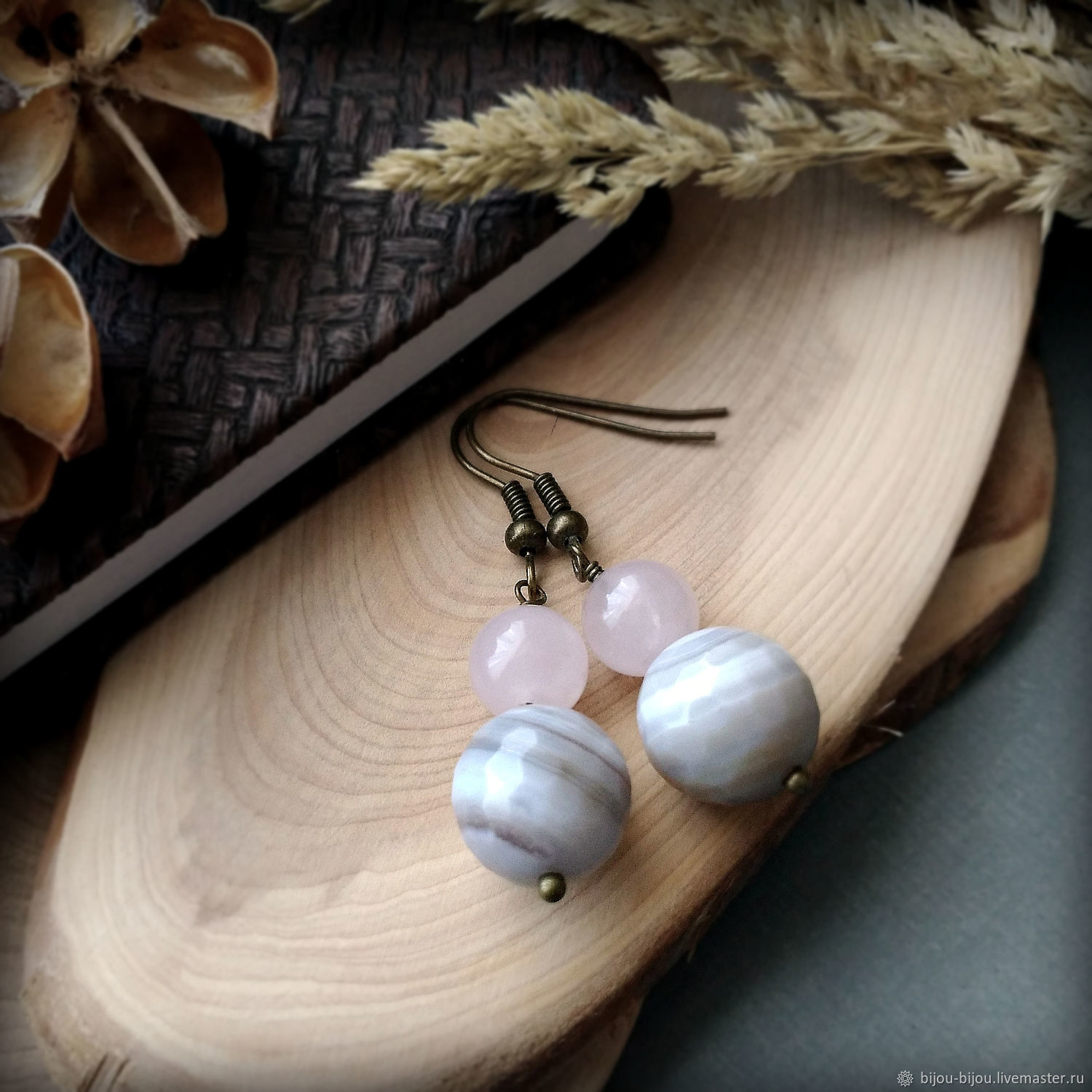 Earrings with natural agate and rose quartz, Earrings, Tyumen,  Фото №1