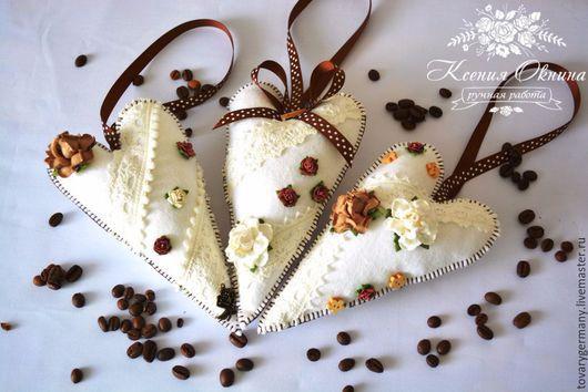 Новый год 2017 ручной работы. Ярмарка Мастеров - ручная работа. Купить Сердце тильда из фетра тильда ваниль корица кофе шоколад. Handmade.