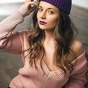 """Одежда ручной работы. Ярмарка Мастеров - ручная работа свитер вязаный женский с открытой спиной """"УКРАДУ ТЕБЯ"""" розовый. Handmade."""
