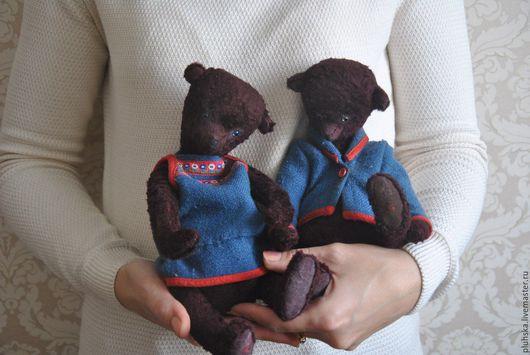 Мишки Тедди ручной работы. Ярмарка Мастеров - ручная работа. Купить Плюшевые мишки Тедди Яшенька и Нюра. Handmade. Коричневый