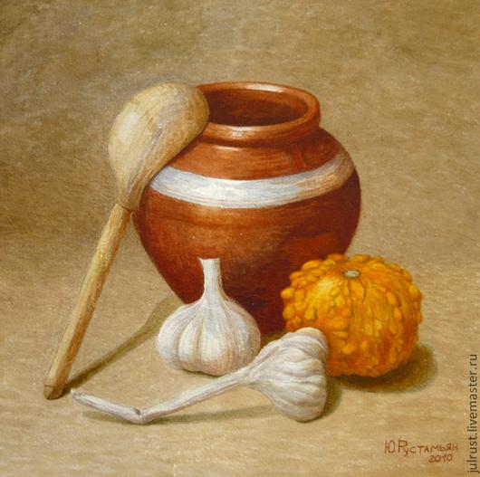 Натюрморт ручной работы. Ярмарка Мастеров - ручная работа. Купить Картина акварелью Натюрморт с чесноком, коричневый тыква горшок кухня. Handmade.
