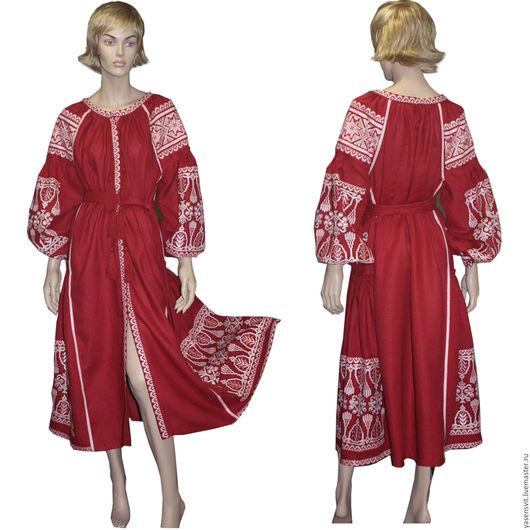 Этническая одежда ручной работы. Ярмарка Мастеров - ручная работа. Купить Украинское Вышитое льняное длинное платье Стиль Вита Кин Украинская. Handmade.