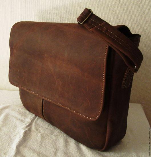 Мужские сумки ручной работы. Ярмарка Мастеров - ручная работа. Купить Кожаная сумка ручной работы. Handmade. Коричневый
