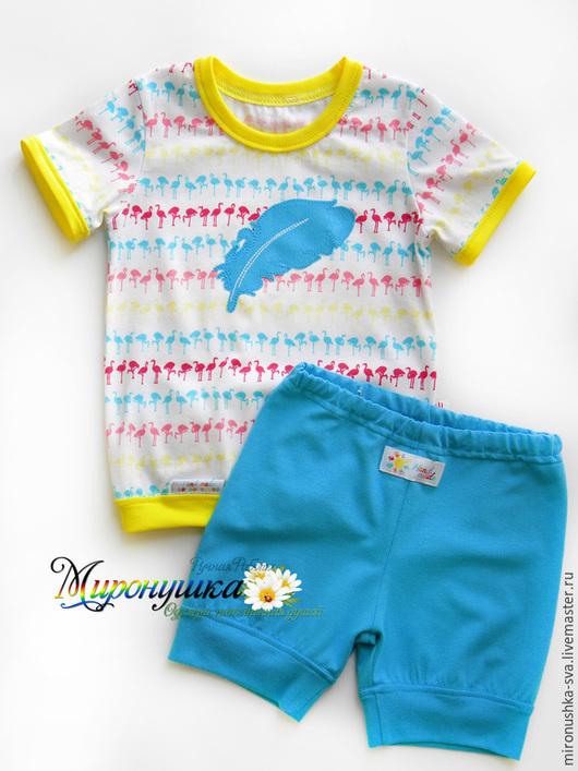 """Одежда для девочек, ручной работы. Ярмарка Мастеров - ручная работа. Купить Комплект """"Перо фламинго"""". Handmade. Разноцветный, желтый, кулирка"""