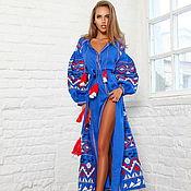 Одежда handmade. Livemaster - original item Maxi Dress Boho, Blue Dress Vyshyvanka. Handmade.